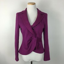 Armani Collezioni Women's Purple Knit Soft Tie Front Blazer Jacket Size 6 - $48.50
