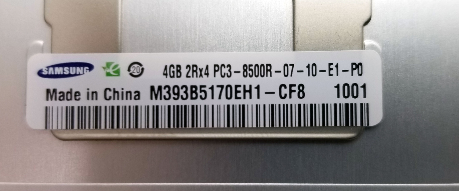 Samsung 4GB 2Rx4 PC3-8500R M393B5170EH1-CF8 Server Ram Bin:6