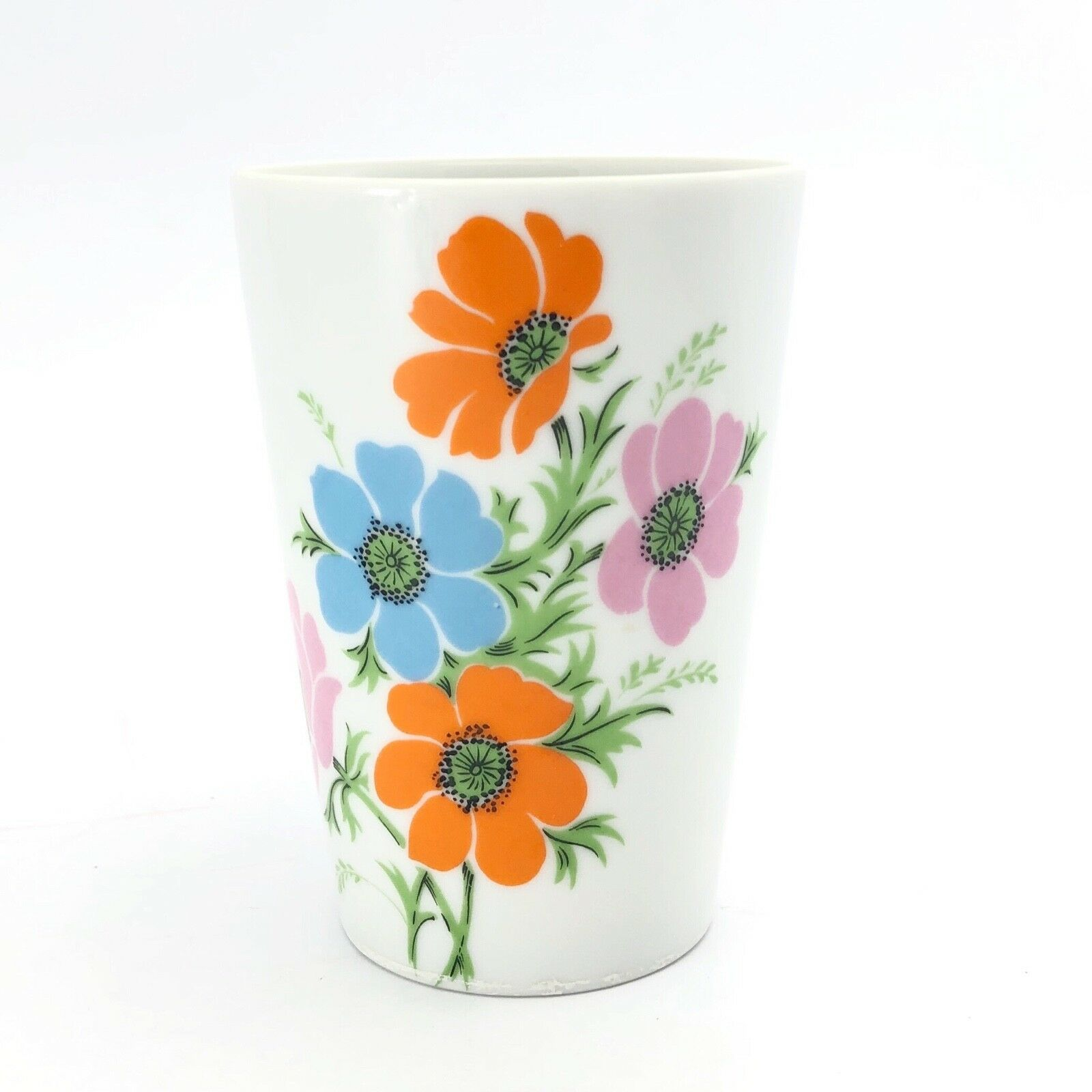 Primary image for Vintage Lefton Ceramic Vanity Cup Hand Painted Floral Motif Poppies Bathroom