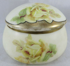 Vintage PM BAVARIA Porcelian Germany Trinket Jewelry Box Yellow Roses Go... - $30.00