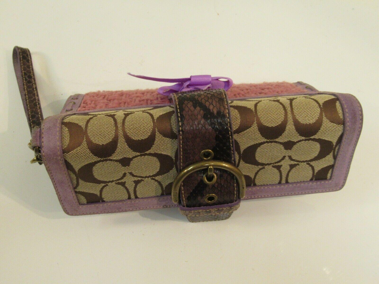 Coach Wristlet Tweed Purple Suede Wallet Buckle Handbag Clutch Monogram C image 11