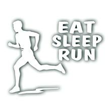 EAT SLEEP RUN boy man decal for marathon runner, jogging bumper sticker ... - $8.83