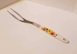 """Vintage EKCO #4 Country Garden Daisy Yellow Orange 2 Prong Meat Turning Fork 12"""" - $10.86"""