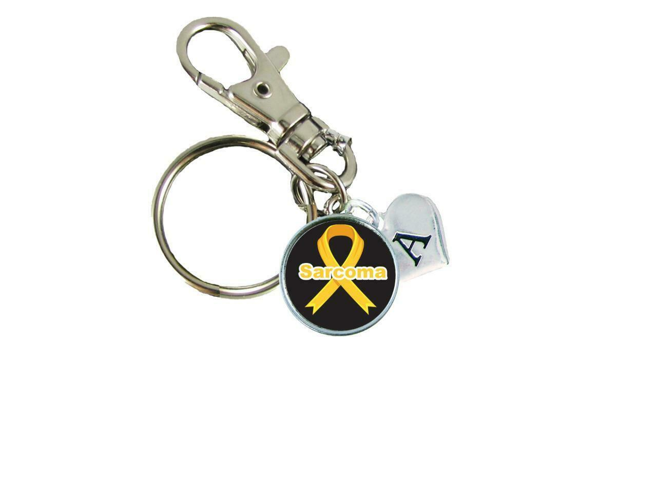 Custom Sarcoma Awareness Yellow Ribbon Key Chain Choose Initial or Family Charm - $10.99