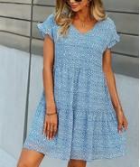 Sucrefas Women's Leopard V-Neck Flutter-Sleeve Shift Dress (Blue, XL) - $29.69