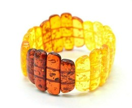 Stretch Lucite Bracelet Faux Amber Shades Glitter Confetti Chunky Vintage - $24.74
