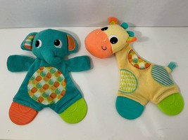 Bright Starts giraffe elephant baby toys crinkle teether lovey security blankets - $9.08