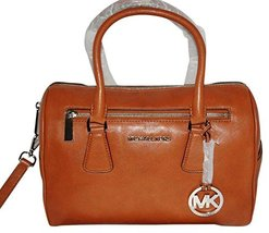 Michael Kors Sophie Cedar Brown Large Top Zip Leather Satchel