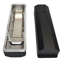 "Chevy Fabricated Aluminum Tall Valve Covers 1/4"" Rail SBC 327 350 383 400 BLACK image 6"