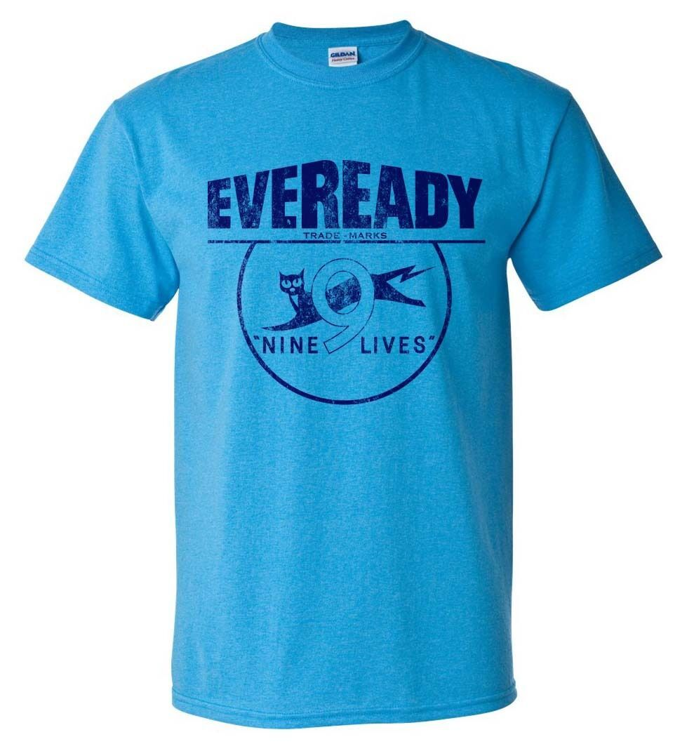 Eveready T-shirt Free Shipping distressed vintage style retro heather blue tee