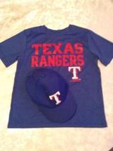 Lot of 2 MLB Size 8/10 Texas Rangers shirt cap hat set blue short sleeve  - $20.99