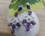 Natural amethyst oval 5x7mm with c.z studded 925 sterling silver earring   7  thumb155 crop