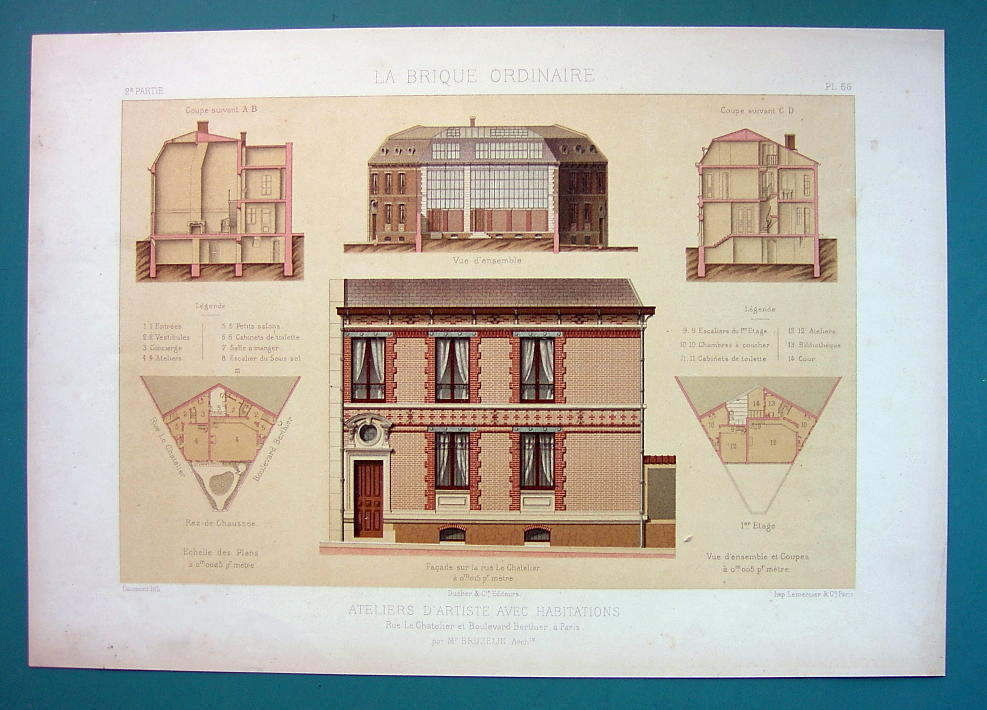 ARCHITECTURE Beautiful Color Print - VICTORIAN Studio Paris Rue Le Chatelier