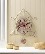 BIRDCAGE COUNTRY ROSE Wall Clock Distressed Shabby Chic White Frame  - $32.80