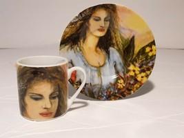 Arte de Cafe Obras de Elsa Nunez  Espresso Decorative  Cup and Saucer Li... - $16.82
