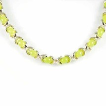 Vintage Necklace Goldtone  Chartreuse Pearlized Plastic   1950s - $29.70