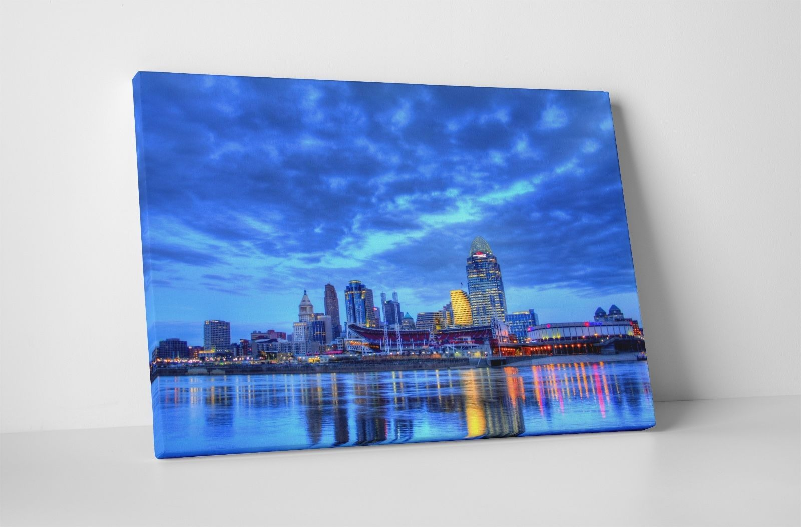 "Primary image for Cincinnati Night Skyline Gallery Wrapped Canvas Print. 30""x20"" or 20""x16"""