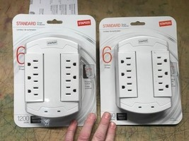 Lot of 2 Staples Surge Protector 6 Outlets 1200 Joule Swivel/Rotating New - $26.18