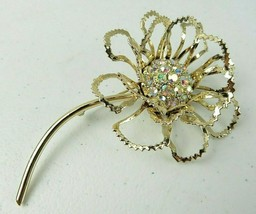 Vintage SARAH COV Clear Rhinestone Gold Tone Flower Rose Brooch Pin - $18.00