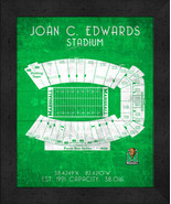 "Marshall Joan C. Edwards ""Retro"" Stadium Seating Chart 13x16 Framed Print  - $39.95"