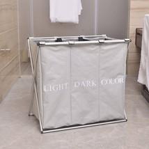 Portable Three Lattice Laundry Basket Light Gray - $48.00