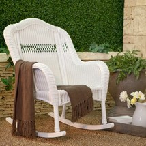 South Bay Traditional White Wicker Rocking Chair Patio Porch Rocker Outd... - $257.35