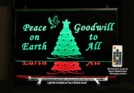 Christmas Tree Lighted Sign- Personalized Custom LED Sign, Happy Holiday's - $96.03+