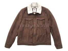 Levis Jeans Red Tab Mens M Brown Faux Suede Leather Sherpa Fleece Trucke... - $80.74