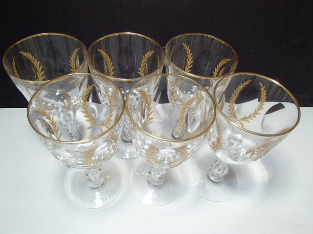 6 Tiffin Franciscan Gold Laurel Wreath Goblets ~~ Blair House ~ rare 1's  - $99.95