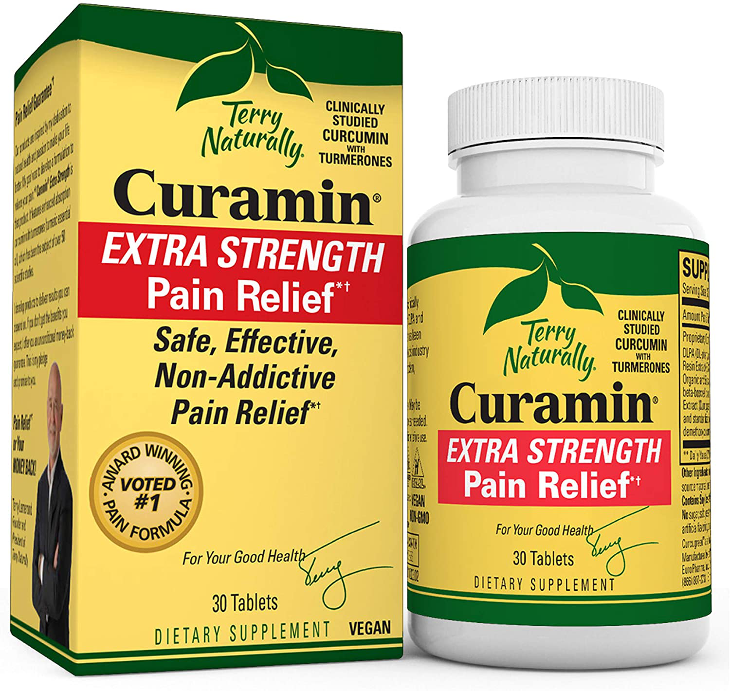 Terry Naturally Curamin Extra Strength 30 Vegan Tablets NonAddictive Pain Relief - $25.88