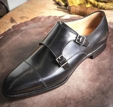 Handmade Men's Black Double Monk Strap Dress/Formal Leather Shoes image 1