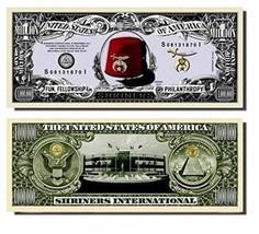 "25 Shriners Million Dollar Bill with Bonus ""Thanks a Million"" Gift Card Set - ₨781.31 INR"