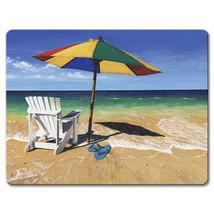 Tempered Glass Cutting Cheese Board 8x10 Beachy Keen Beach Chair Umbrell... - $28.36 CAD