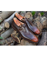 Men's Handmade Brown Multi Shaded Shoes, Men's Leather Monk Shoes - $144.99+