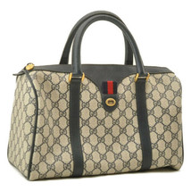 GUCCI GG PVC Leather Sherry Line Hand Bag Red Blue Auth sa2373 - $480.00