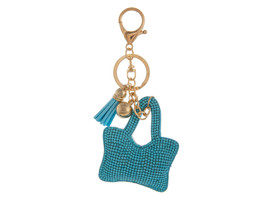Aqua Blue Handbag Shaped Faux Suede Tassel Stuffed Pillow Keychain Handb... - $12.95