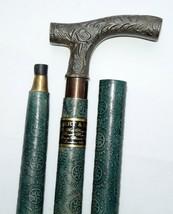Antique Brass Nautical Designer Handle Vintage Leather Wooden Walking St... - $42.06