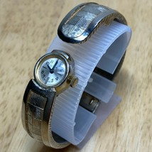 Vintage Lisa Swiss Lady Covered Face Cuff Bangle Hand-Winding Watch Hour... - $18.99