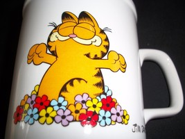 Garfield The Cat Vintage Coffee Mug Cup Call Me Morning Glory Flowers Co... - $14.30