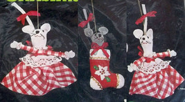 Holiday Threesome Christmas Ornaments Sealed Kit 32115 Sequin Lace Trim ... - $19.79