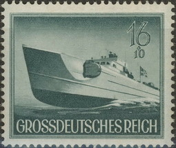 1944 WWII Speedboat Germany Postage Stamp Catalog Number B265 MNH