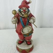 Circus Clown Figurine Wind Up Music Saints Go Marching In Wooden Statue ... - $39.55