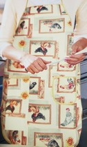 "Fabric Kitchen Apron with pocket & small towel, 23""x36"", ROOSTERS IN FRA... - $14.84"