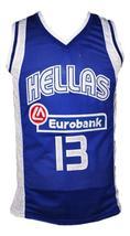 Dimitris Diamantidis #13 Greece Custom Basketball Jersey New Sewn Blue Any Size image 4