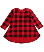StylesILove Little Girl Black and Red Checked Plaid Long Sleeve Cotton D... - $14.99