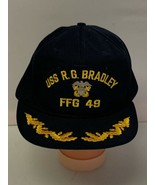 Vintage Snapback Hat USS R.G. Bradley FFG 49 Navy Blue Made in USA CAP-10 - $16.45