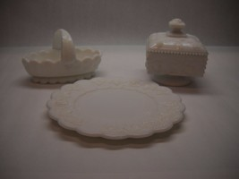 Westmoreland Milk Glass Set Plate Basket Square Candy Dish Grape Pattern - $39.59