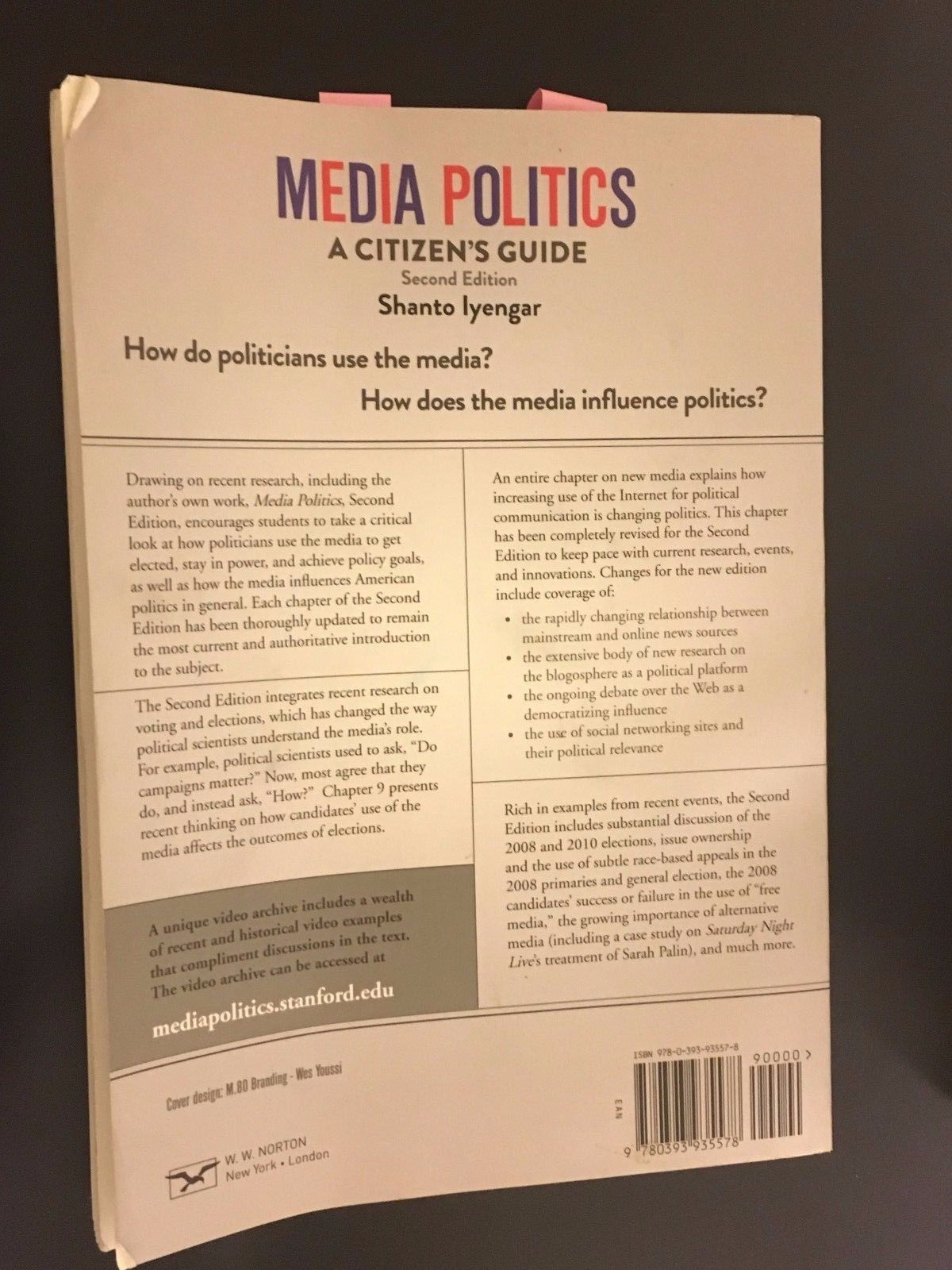 Media Politics: A Citizen's Guide by Shanto Iyengar (2011, Paperback) 2nd ed