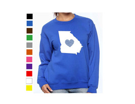 Georgia Long Sleeve Sweatshirt Love Home Heart Unisex Men Women State - $17.81+