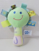 Taggies green yellow blue fleece plush flower rattle mirror alphabet handle - $14.84